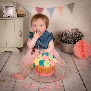 Baby Smashing Cake at Birthday Party